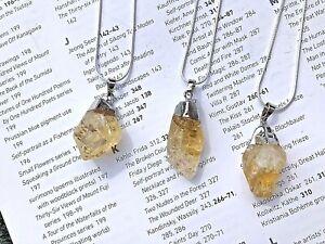 Citrine Crystal Pendant Necklace Healing Gem stone quartz healing UK sell #57