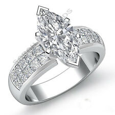 14k White Gold Over Marquise Diamond Engagement DVVS1 Invisible Set Ring 1.86 ct