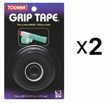 Unique Tourna Tennis Racquet Grip Gauze Tape-Black-1in x 30 Ft-Badminton (2Pack)