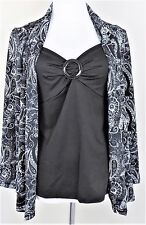 NOTATIONS Size S NWT Black & White Paisley Faux 2 Pc Top