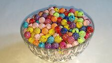 10MM Mixed Acrylic W/ Sparkle Rhinestone Pattern Round Spacer Loose Beads 100pc.