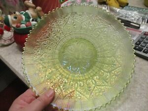 ANTIQUE Green Northwood Carnival Glass Hearts & Flowers PLATE RARE STUNNING OLD