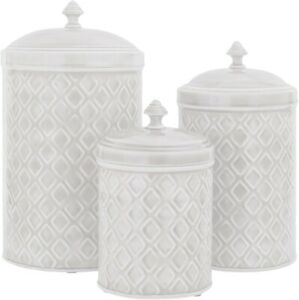 SET OF 3 OFF WHITE EMBOSSED METAL CANISTERS LARGE/MEDIUM/SMALL