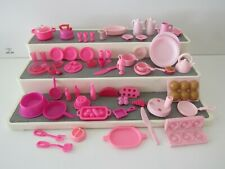 Large Lot Barbie Doll Accessories Diorama Kitchen Pots Pans Dishes Utensils Pink