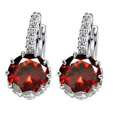 White Gold Plated Red Stone  Drop Earrings Wedding Jewellery Gift UK Seller