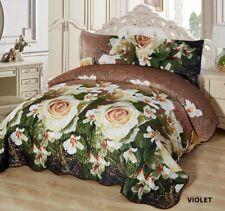 3-Pcs California King Quilted Reversible VELVET Bedspread Coverlet Set - VIOLET