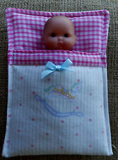 """5"""" baby Berenguer doll's Sleeping bag, pram cot bedding  by Lesley Shaw NEW"""
