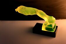 "BOHEMIAN ART DECO  GLASS CAR MASCOT - HOOD ORNAMENT "" GREYHOUNDS"". URANIUM YELL."