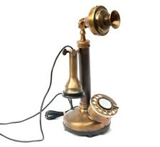Vintage Brass Retro Candlestick Antique Look Telephone Rotary Dial Home Decor Gi
