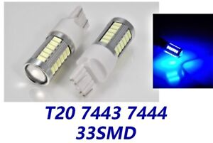Blue Front Turn Signal Lights T20 7443 7444 33 LED Bulb A1 For Toyota LAX