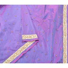 Sanskriti Vintage Purple Heavy Dupatta Pure Silk Hand Beaded Rhinestone Stole