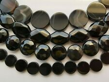 clearance-15-15.5''black agate coin 8 12 30mm rectangle bead(read information)