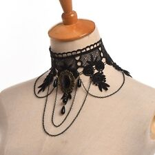Womens Victorian Gothic Steampunk Black Lace Collar Choker Queen Party Necklace