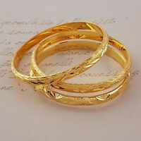 3pcs / lot or 24K rempli femmes jaunes bracelet sculpté bracelet 60mm*6mm