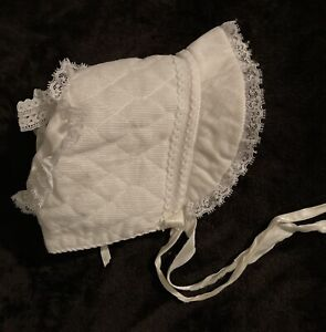 Corduroy off white lace trim ribbon ties baby toddler Kids bonnet hat cap no sz