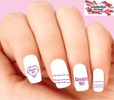 Waterslide Nail Decals Set of 20- Pink Barbed Wire Cowgirl Up Heart Assorted
