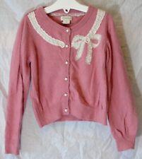 Girls Monsoon Pink Angora Rabbit Blend Sparkly Bead Pearl Cardigan Age 5-6 Years