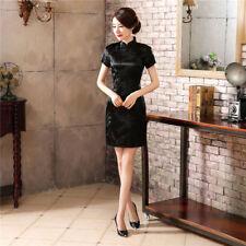 Sexy Traditional Chinese Women's Silk Satin Mini Dress Cheongsam Qipao SZ S-6XL