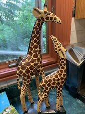 Mother & Baby Giraffe Carved Painted Wood Statue 21� Tall