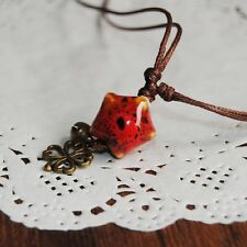handmade Cord Tassel Pendant Necklace STAR Ceramic Bead 4 leaf clover red US un3