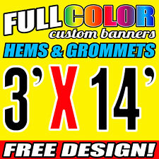 Custom Banner 16oz Vinyl /Flex Outdoor 3' X 14' FT Personalized Advertise Signs