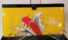 Ed Hardy Yellow Koi Fish Wallet w/Clip Closer Vintage