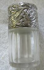 Sterling Silver and cast glass perfume cologne bottle with hinged top English