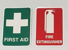 Fire Extinguisher Sticker & First Aid Sticker Small 80mm x 120mm Vehicle Truck