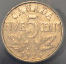 "1926. Far ""6"" VF 30, scratched, ANACS graded Canadian Five Cents- Key Date!"