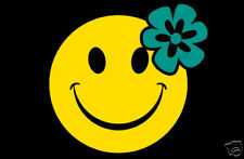 Hawaiian bumper sticker decal / Smile face with flower