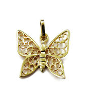 14K Yellow Gold Butterfly Necklace Pendant Charm ~ 0.8