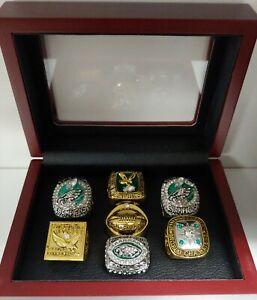 Philadelphia Eagles - Championship Custom 7 Ring Set W Wooden Box. Foles McNabb
