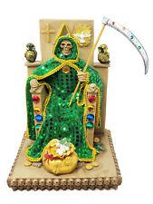 "New listing 12"" Green Santa Muerte Statue Money Holy Death Grim Reaper w/ Owls"