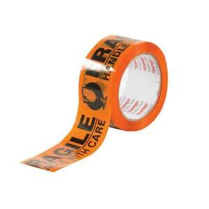 Fragile Dispatch Tape Orange Black 48mmx75m Roll Handle With Care Packing Label