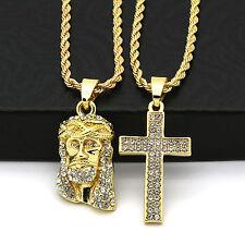 "Men 14k Gold Plated High Fashion 2 pcs Jesus & Cross 2mm 30"" & 24"" Rope chain 04"
