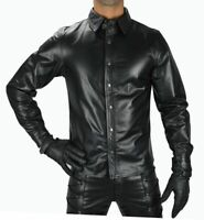 MEN'S REAL BLACK LEATHER POLICE MILITARY STYLE SHIRT FULL SLEEVES