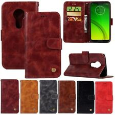 For Motorola Moto G7 Power/Plus/Play Retro Leather Wallet Card Stand Cover Case