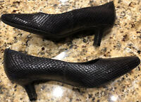 Rockport Kirsie Women's Heels Dress Shoes Size 9 M Black Vegan Faux Snake EUC