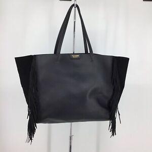 Victoria's Secret Black XL Fringe Faux Leather Suede Weekender Tote Bag