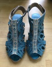 SPRING STEP WOMEN'S TURQUOISE FLOURISH LEATHER SANDALS