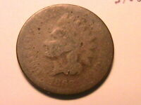 1866 Indian Head Cent Choice About Good (AG) Original Brown US Small Penny Coin