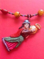 Necklace Mayan Woman  Pot Multicolor Tribal Artisan Beads Fashion Jewlery Hip