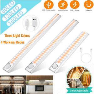 USB LED Under Cabinet Cupboard Strip Bar PIR Motion Sensor Light Kitchen MR