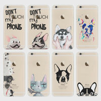 Don't Touch My Phone Crazy Cat Dog Hard Transparent Case For iPhone 5S SE 6 7 8