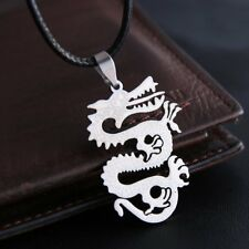 Fashion Men's Jewelry Dragon Boho Stainless Steel Necklace Pendant Leather Chain