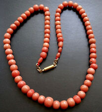 antique Edwardian real CORAL salmon pink carved round bead necklace -A110