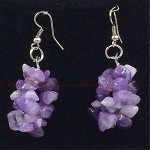 Amethyst gravel Gemstone Earrings Tibet silver Hook Beautiful jewelry Handmade