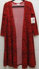 LuLaRoe Sarah Cardigan Long Sweater Jacket Red Black White Pockets Small S New
