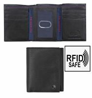 Prime Hide Sanford Men's Small Black Trifold Leather Wallet RFID Blocking New
