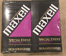 Lot of 2 Maxell HGX-GOLD120 VHS T-120 HGX(G) Special Event Blank VHS Sealed. New